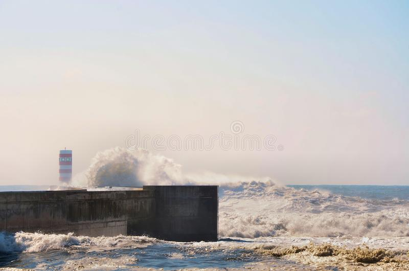 击中海岸的强的波浪 库存照片