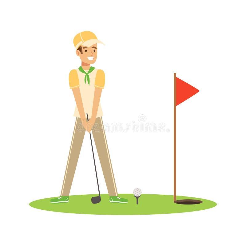 击中球的微笑的人高尔夫球运动员导航例证 皇族释放例证