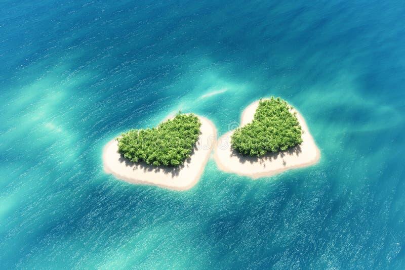 海岛_洋中的心形的热带海岛.