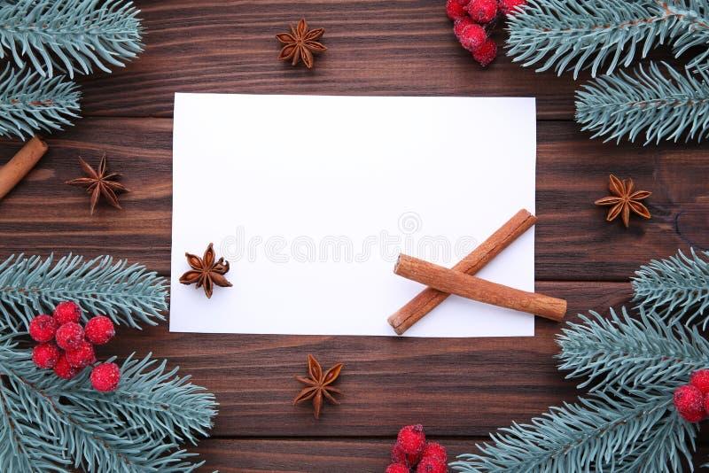 中看不中用的物品蓝色圣诞节构成玻璃 冷杉荚莲属的植物分支和莓果在棕色背景的 库存照片