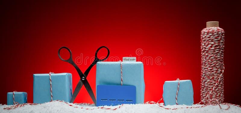中看不中用的物品蓝色圣诞节构成玻璃 贺卡新年,手工制造礼物 免版税库存图片
