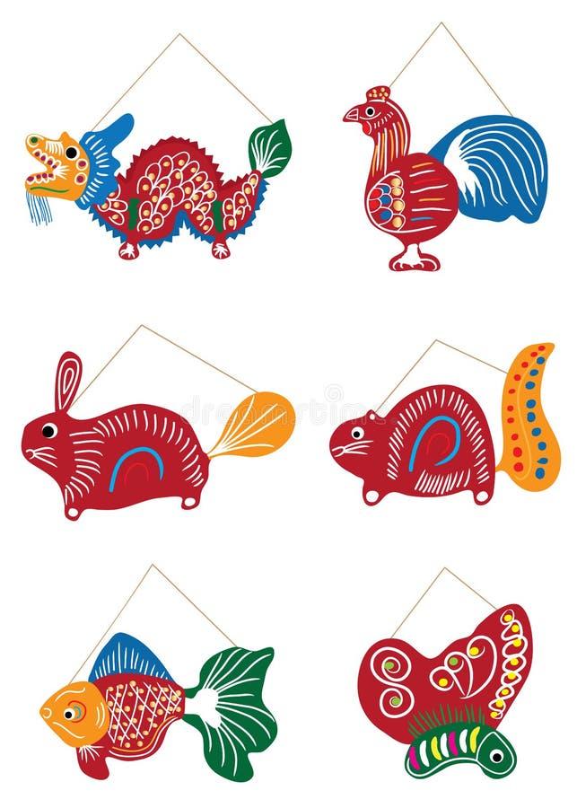 中秋节传统图画灯笼集合 库存例证