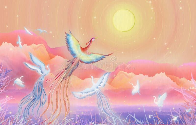 中秋节月饼节日,往菲尼斯的一百只鸟开花好月亮圆例证包装 向量例证