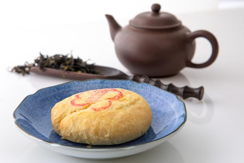 中秋节,月亮观察,茶,月饼,台中太阳蛋糕 图库摄影