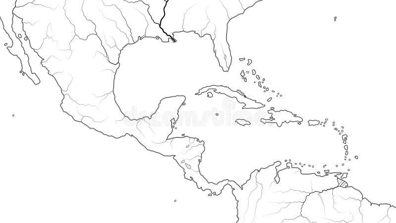 中美洲和加勒比区域世界地图:墨西哥,加勒比岛,加勒比水池 地理图 库存例证