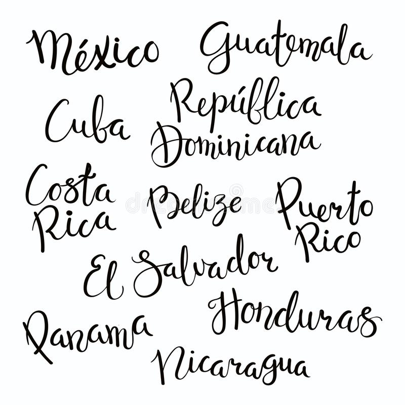 中美洲国家在上写字 皇族释放例证