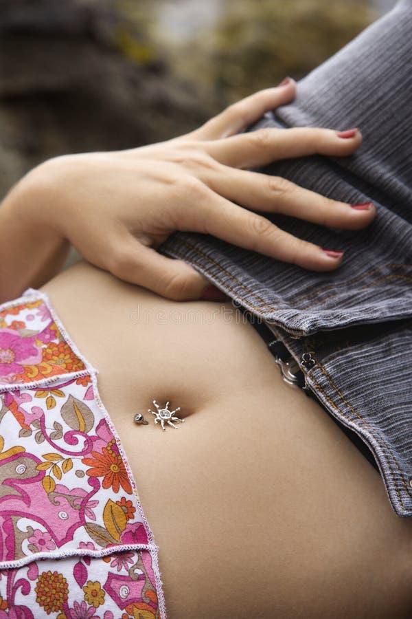中腹部妇女年轻人 库存图片