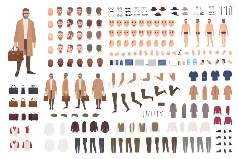 中部的时兴的人变老建设者或DIY成套工具 套男性漫画人物身体局部,表情 库存例证