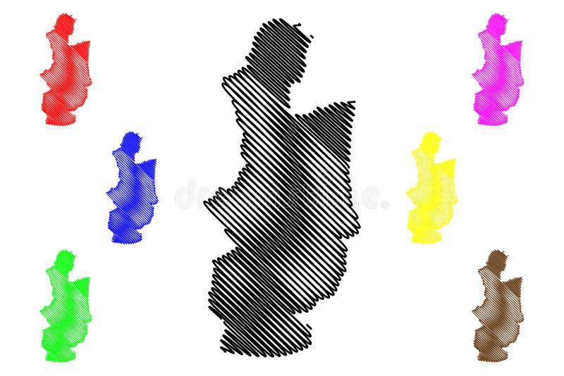 中部省,斯里兰卡管理部门,民主党社会主义斯里兰卡共和国,锡兰地图传染媒介例证 向量例证