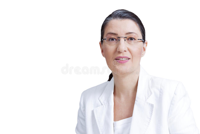 中部年迈的妇女家庭教师教授 库存照片