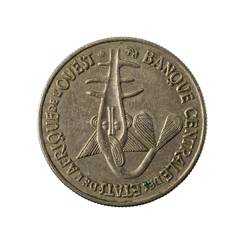 50中非CFA法郎硬币1996相反 图库摄影