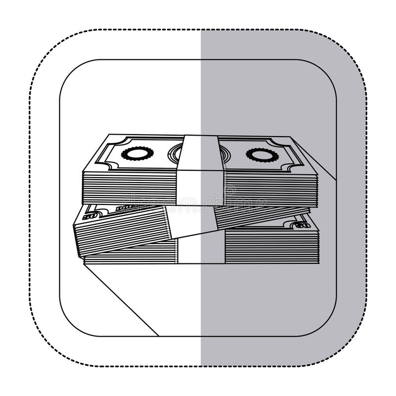 中间与被堆积的钞票的阴影单色贴纸在框架 库存例证