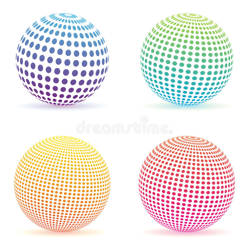 中间影调加点梯度球形 被隔绝的五颜六色的圆的商标集合 库存例证