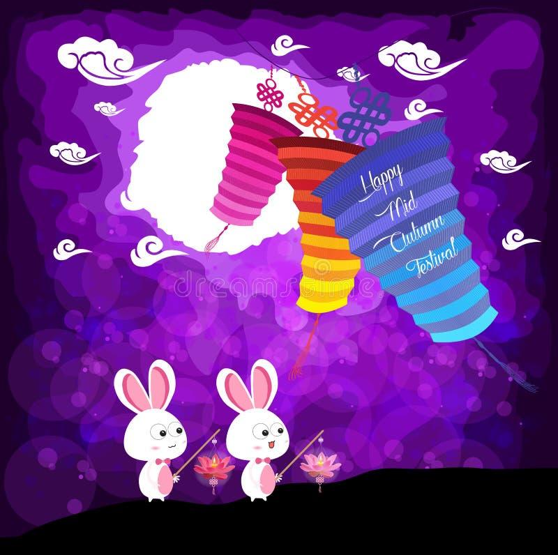 中间秋天节日背景用演奏灯笼的兔子 库存例证