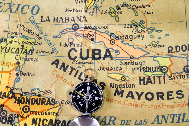 中间美国和安的列斯的老地图在西班牙学校 免版税库存图片