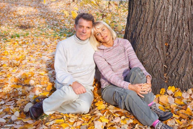 中间年龄夫妇坐秋叶 免版税库存照片