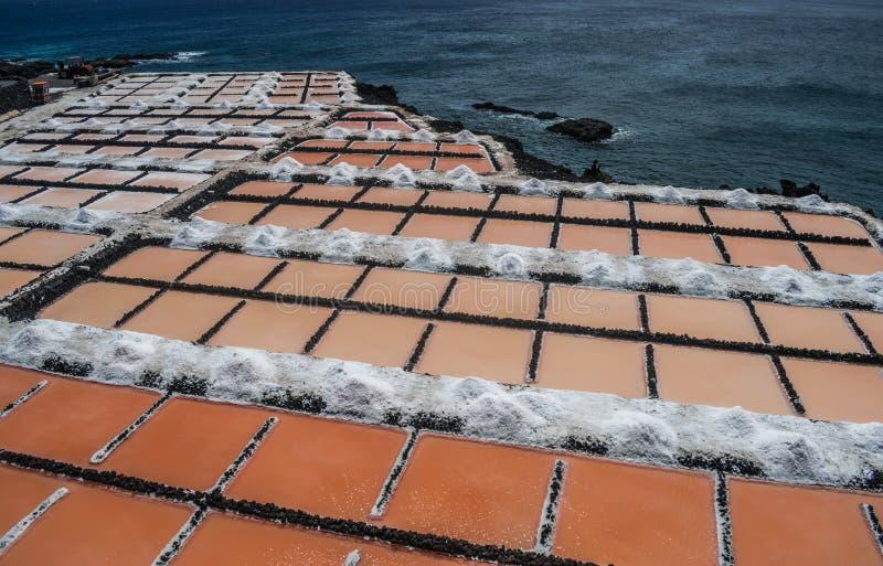 丰卡连特角盐厂,拉帕尔玛岛,加那利群岛 免版税库存照片