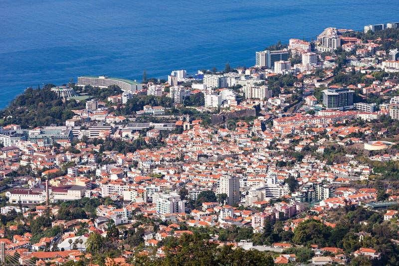 丰沙尔鸟瞰图,马德拉岛 免版税库存图片