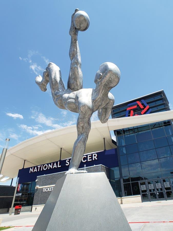丰田足球中心德克萨斯美国弗里斯科雕塑 免版税库存图片