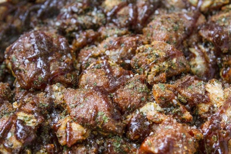 串肉和菜 熏制的格栅食物 游园会 免版税库存照片