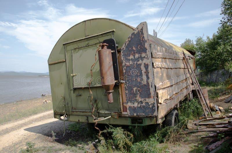 临时住宅的工作拖车 免版税库存照片