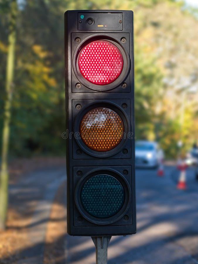 临时便携式的交通信号特写镜头道路工程的 免版税库存图片