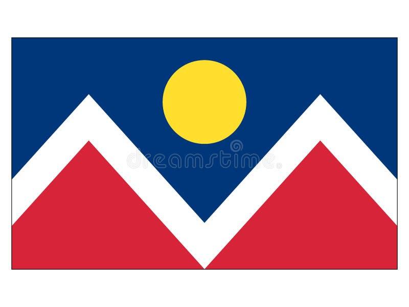 丹佛,科罗拉多美国旗子  皇族释放例证