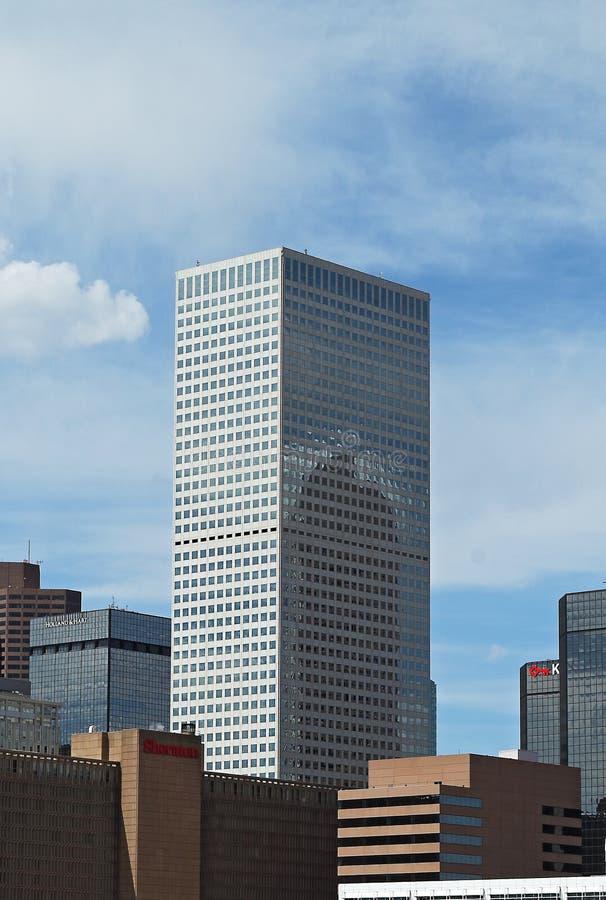 丹佛,科罗拉多,美国,与共和国广场建筑物的街市都市风景 免版税图库摄影