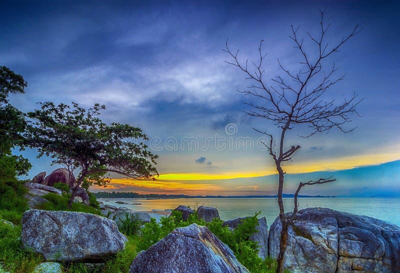 丹戎Kelayang海滩邦加岛印度尼西亚 库存照片