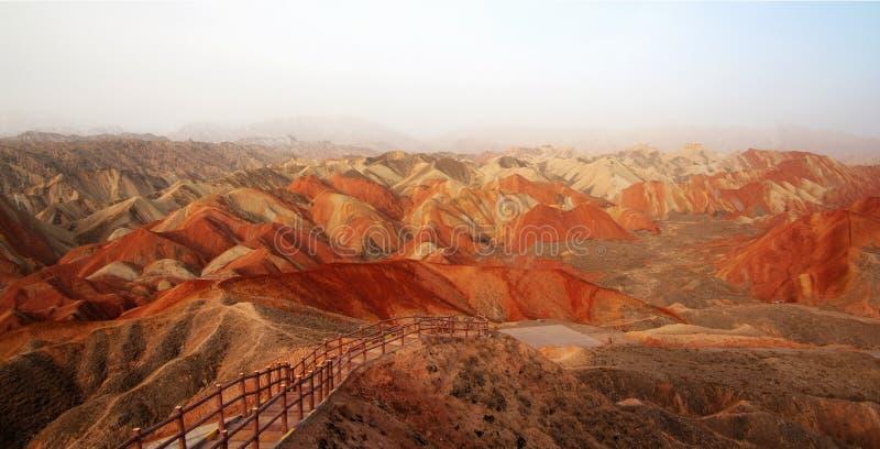 丹霞地形在张掖,甘肃中国 免版税库存图片
