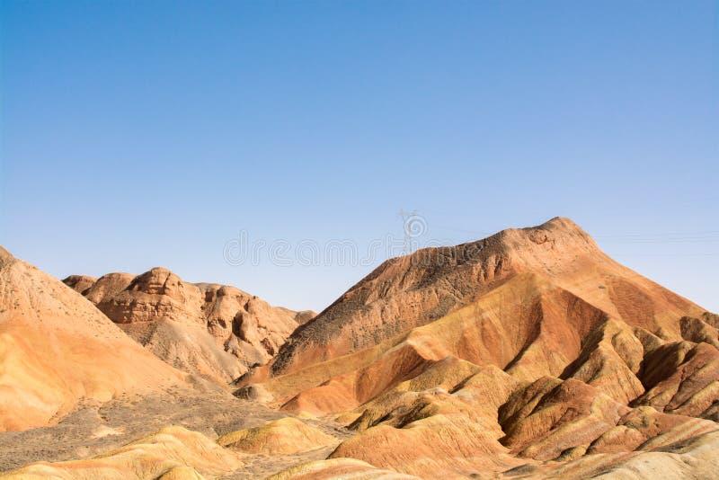 丹霞地形在张掖,甘肃,中国 免版税库存照片