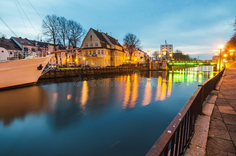 丹麦人河在克莱佩达(立陶宛) 免版税库存照片