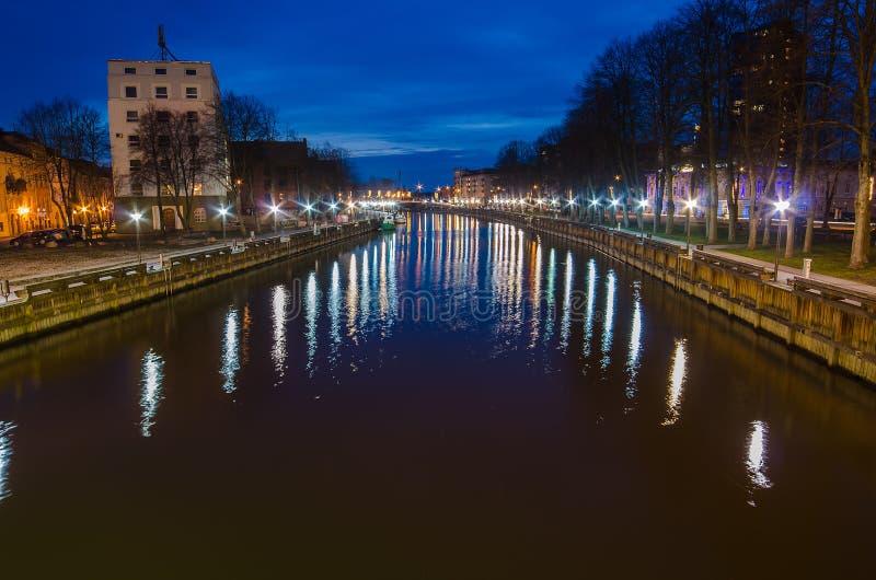 丹麦人河在克莱佩达(立陶宛) 库存图片