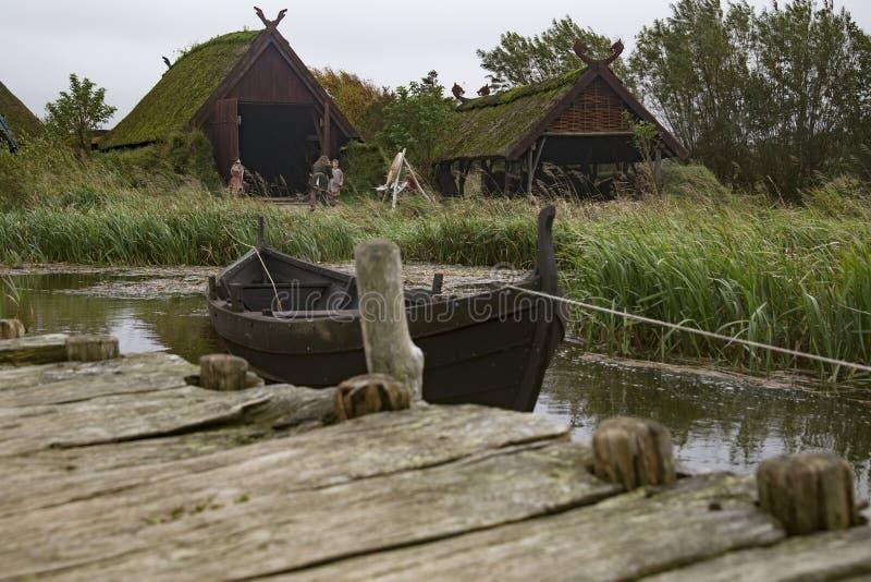 丹麦北欧海盗村庄 免版税库存图片