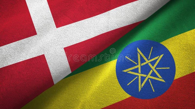 丹麦和埃塞俄比亚两旗子纺织品布料,织品纹理 库存例证