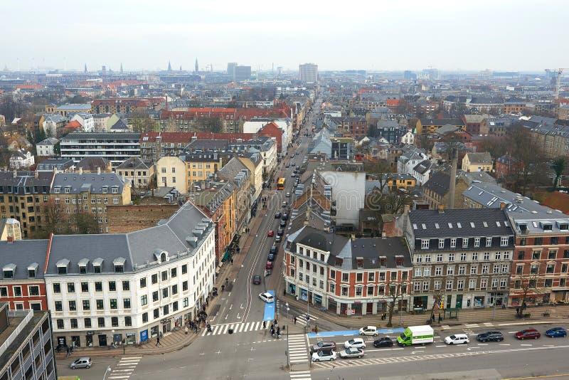 丹麦城市从上面被看见的腓特烈斯贝 库存照片