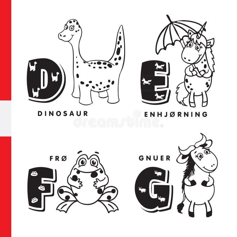 丹麦字母表 恐龙、独角兽、青蛙、角马传染媒介信件和字符 皇族释放例证