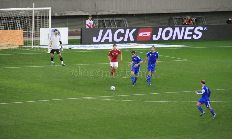 丹麦希腊足球与 库存图片