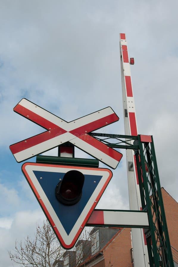 丹麦平交道口签到Sakskoebing镇  免版税库存图片