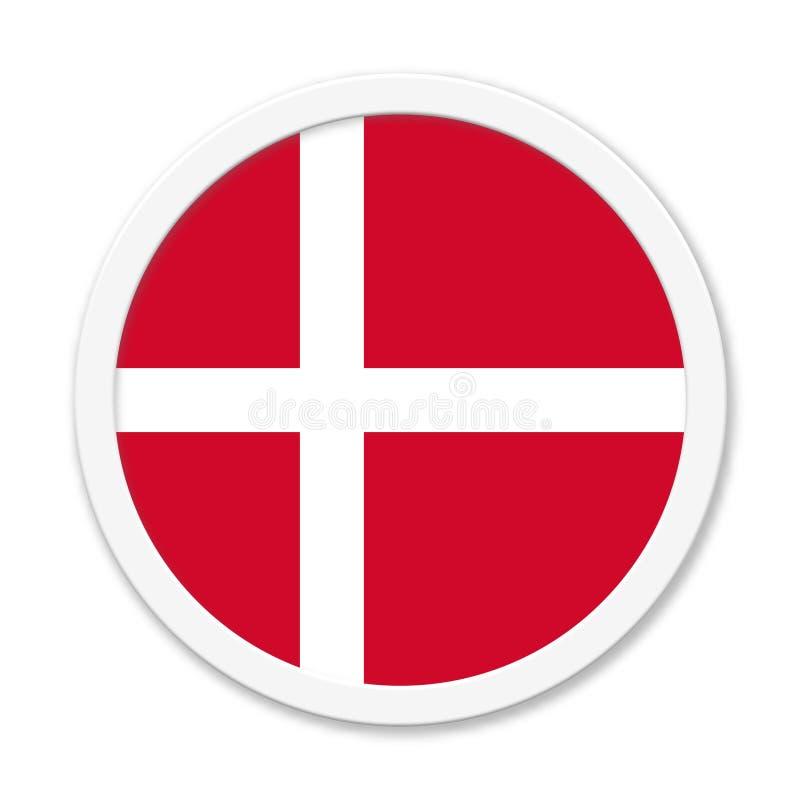 """丹麦或丹麦语-带白框的""""圆角按钮""""图标 向量例证"""
