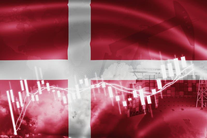 丹麦旗子、股票市场、交换经济和贸易,石油生产,在出口的集装箱船和进口业和后勤学 库存例证