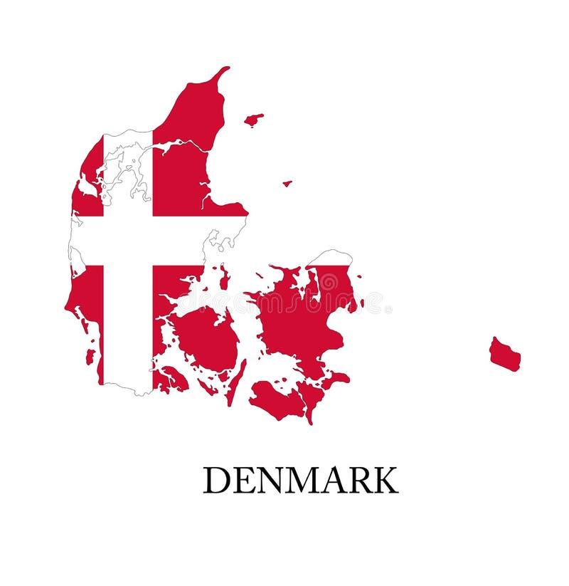 丹麦旗子地图 皇族释放例证