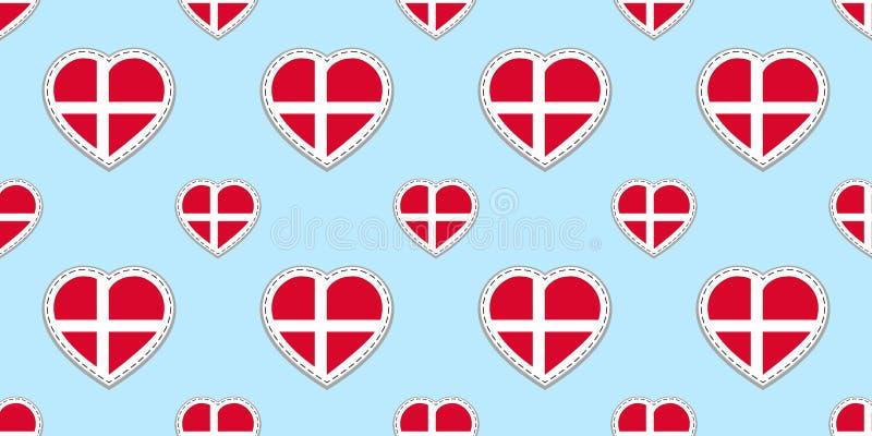 丹麦旗子无缝的样式 传染媒介丹麦语下垂stikers 爱心脏标志 爱国的,运动栏,旅行好选择, 向量例证
