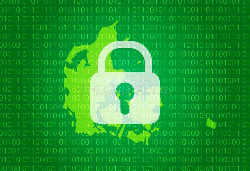 丹麦映射 例证有锁和二进制编码背景 阻拦的互联网,病毒攻击,保密性保护 皇族释放例证