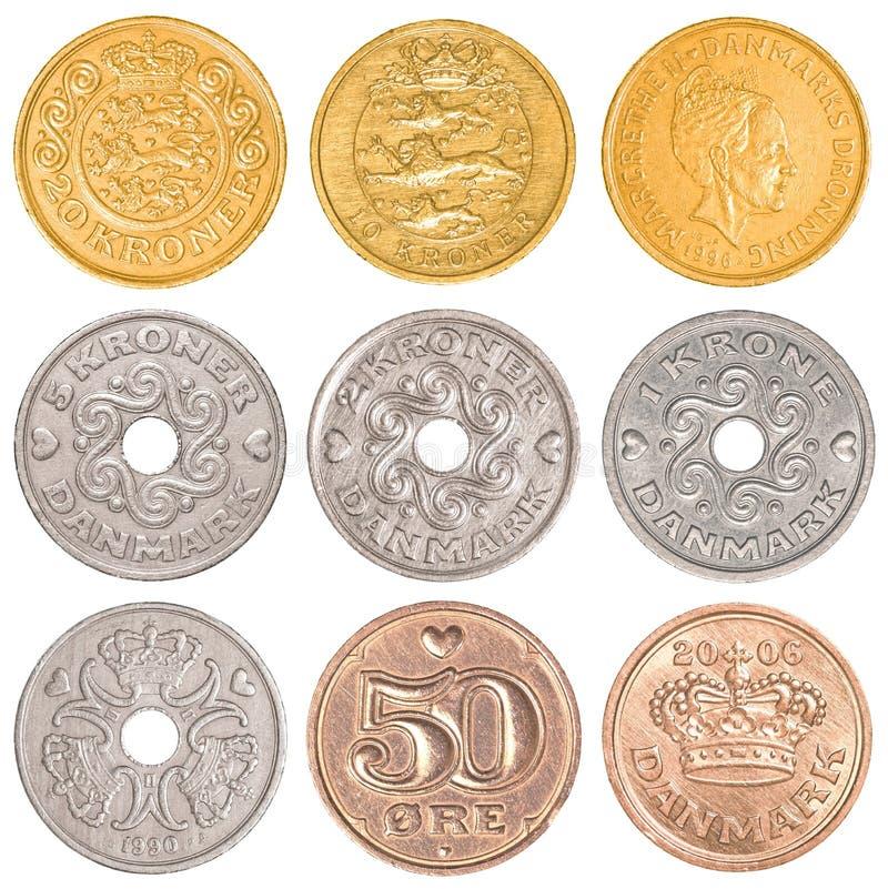 丹麦流通的硬币收集集合 库存照片