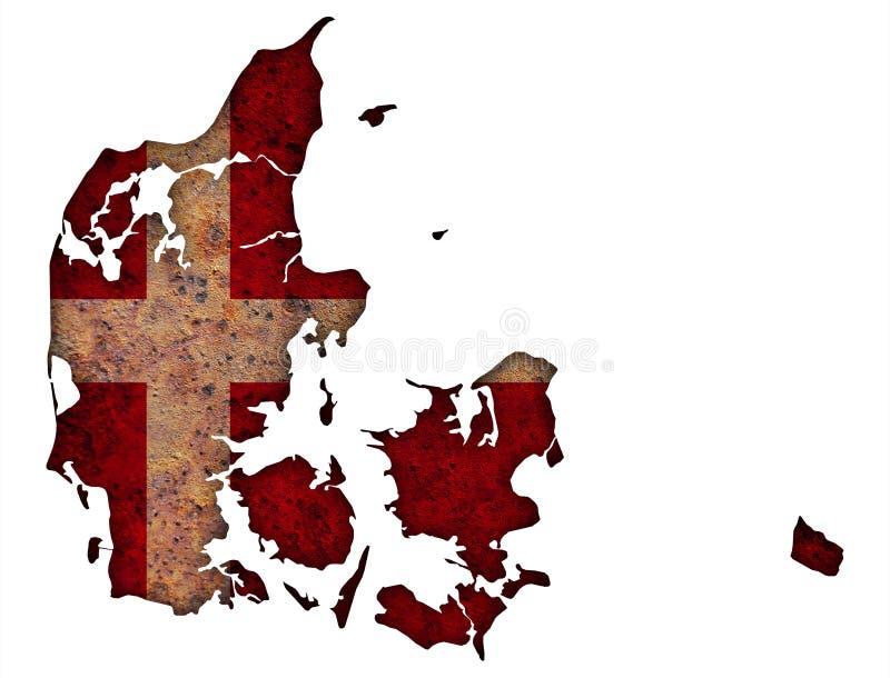 丹麦的地图和旗子被风化的木头的 免版税图库摄影