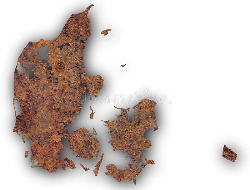 丹麦的地图生锈的金属的 免版税库存照片