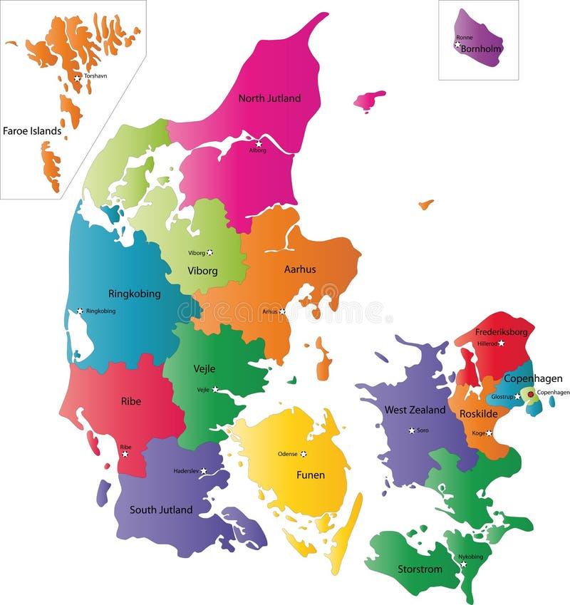丹麦的映射 向量例证