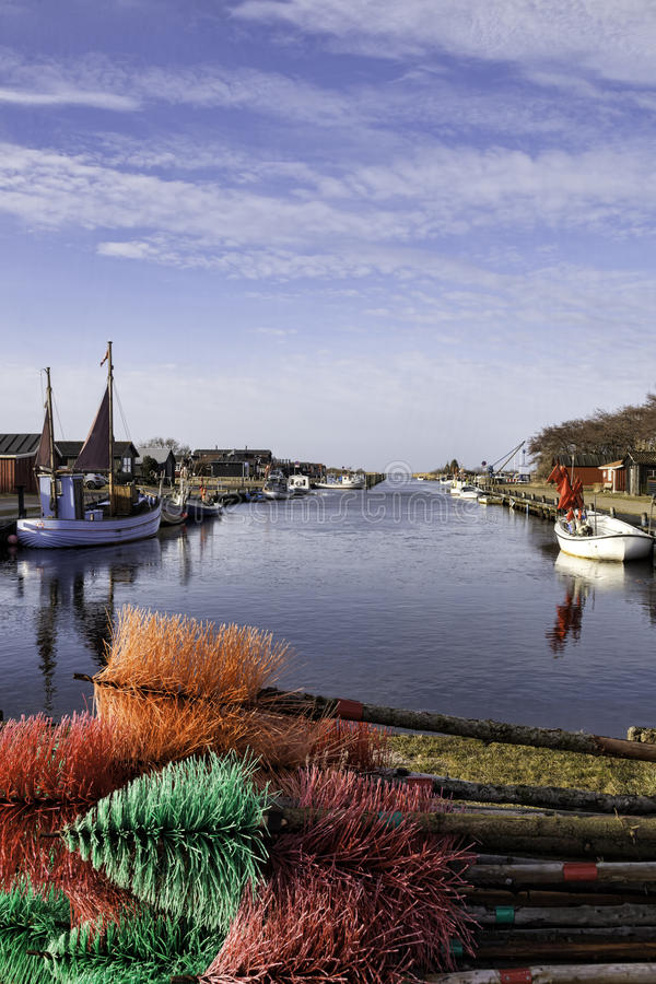 丹麦的西部部分的Stauning港口 免版税库存照片