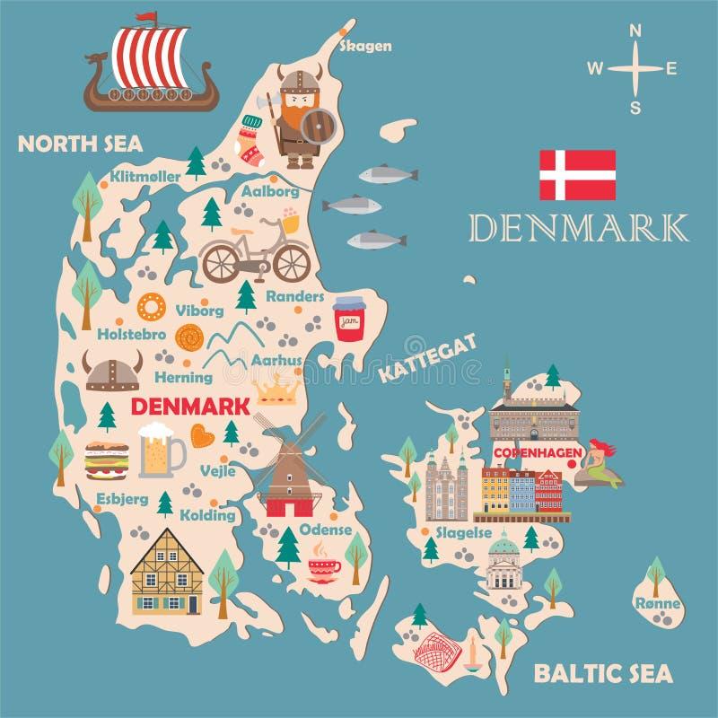 丹麦的风格化地图 皇族释放例证